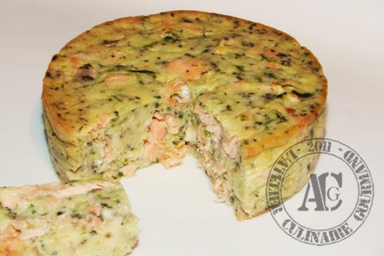 Flan de courgette chèvre et saumons